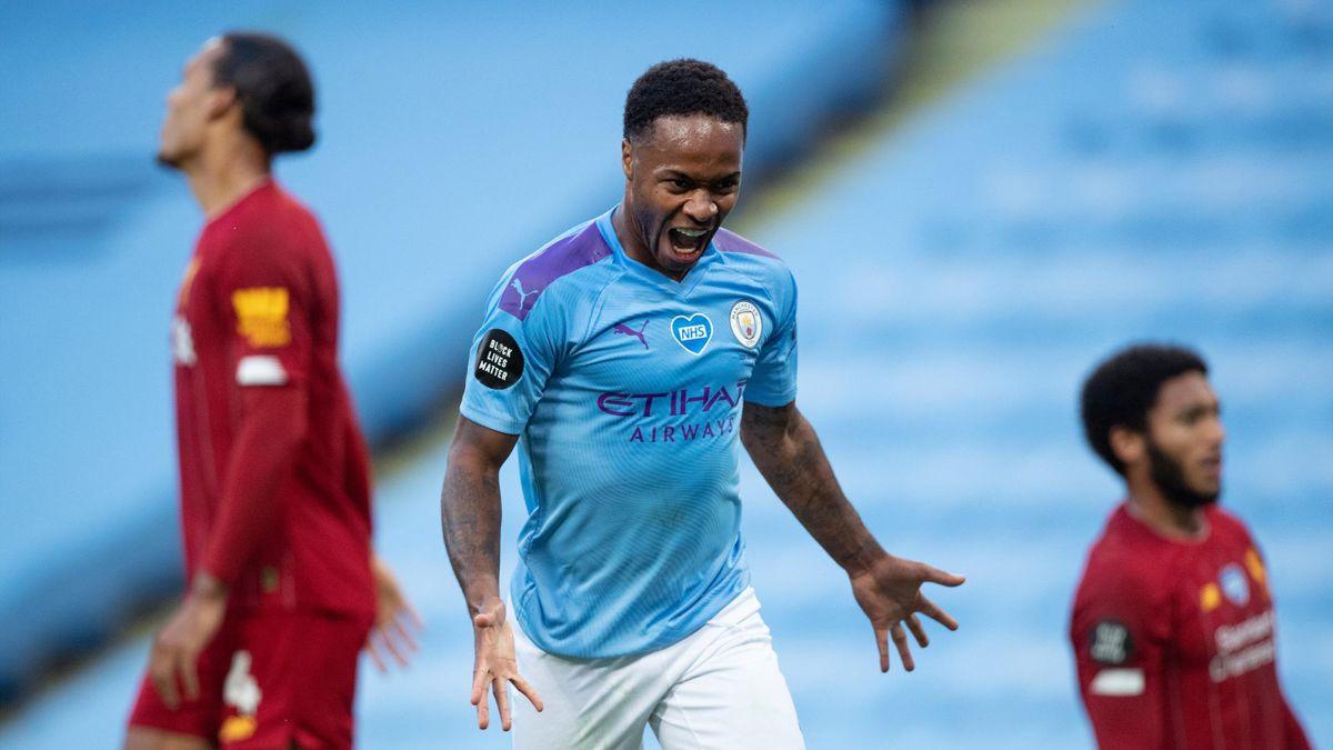 Raheem Sterling (Manchester City) bejubelt den 4:0-Erfolg gegen den FC Liverpool