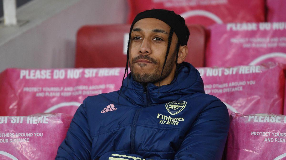 Arsenal forward Pierre-Emerick Aubameyang watches on, Arsenal v Slavia Prague, Europa League, Emirates Stadium, London, April 08, 2021