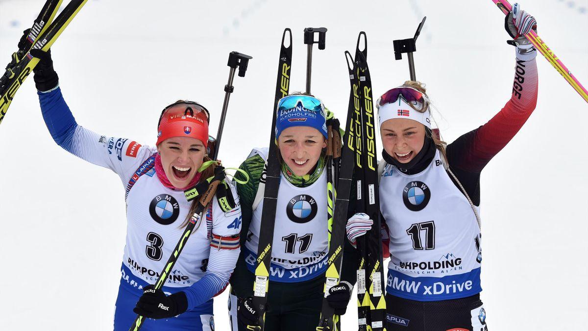 Paulina Fialkova (3e) - Franziska Preuss (1re) - Ingrid Tandrevold (2e), le podium de la mass start dames de Ruhpolding - 20/01/2019