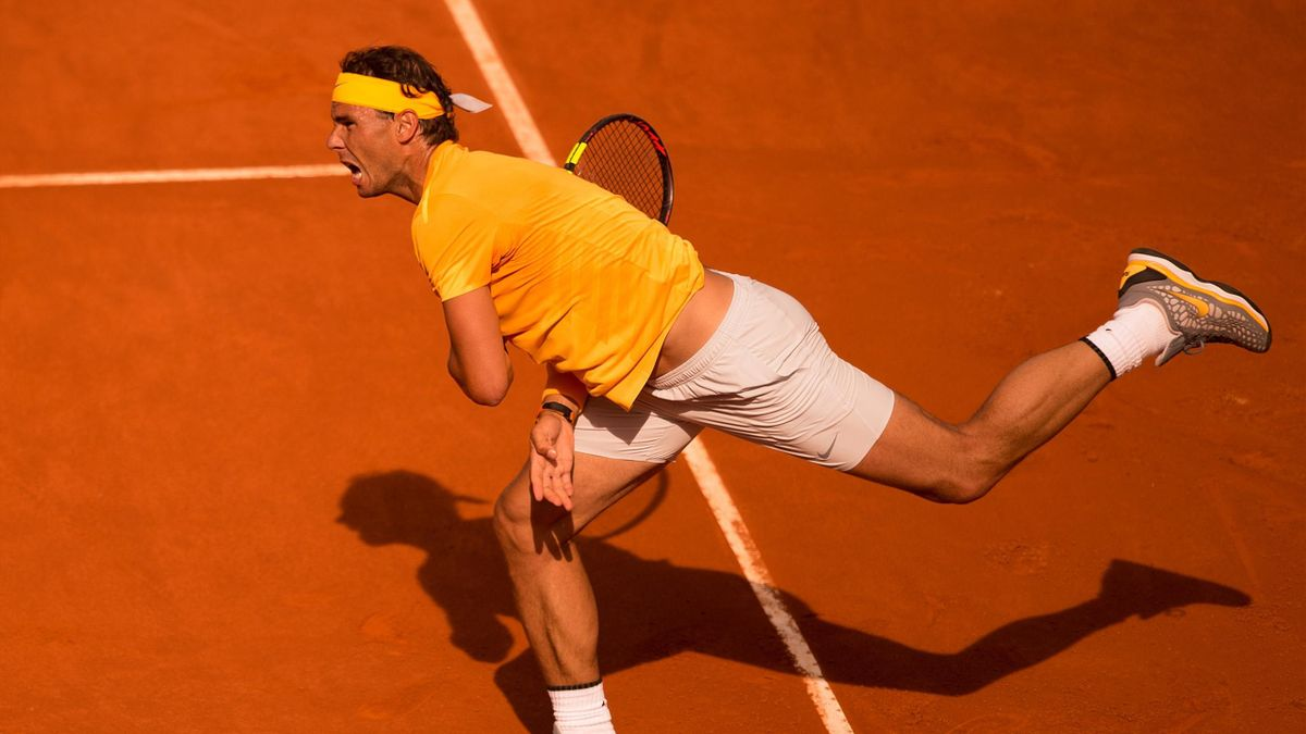 Rafael Nadal lors de son match face à Dominic Thiem à Madrid en 2018