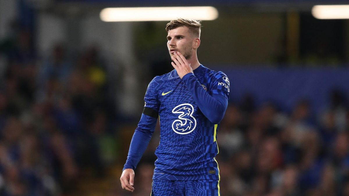 Timo Werner of Chelsea during the Carabao Cup Third Round match between Chelsea and Aston Villa at Stamford Bridge on September 22, 2021 in London, England.