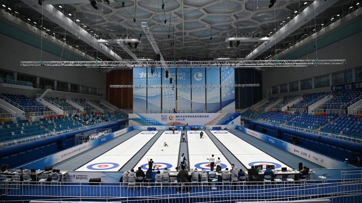Curling test event, National Aquatics Center, known as the Ice Cube, Beijing, April 2, 2021.