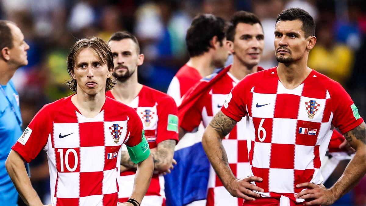 Croatia's Luka Modric (L) and Dejan Lovren after the 2018 FIFA World Cup Final match between France and Croatia at Luzhniki Stadium