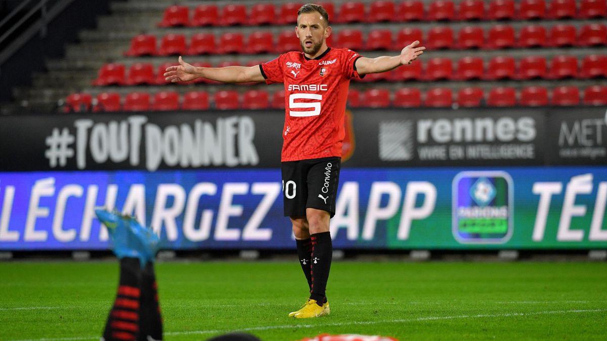Flavien Tait lors du match opposant Rennes à Lens, le 5 décembre 2020, en Ligue 1