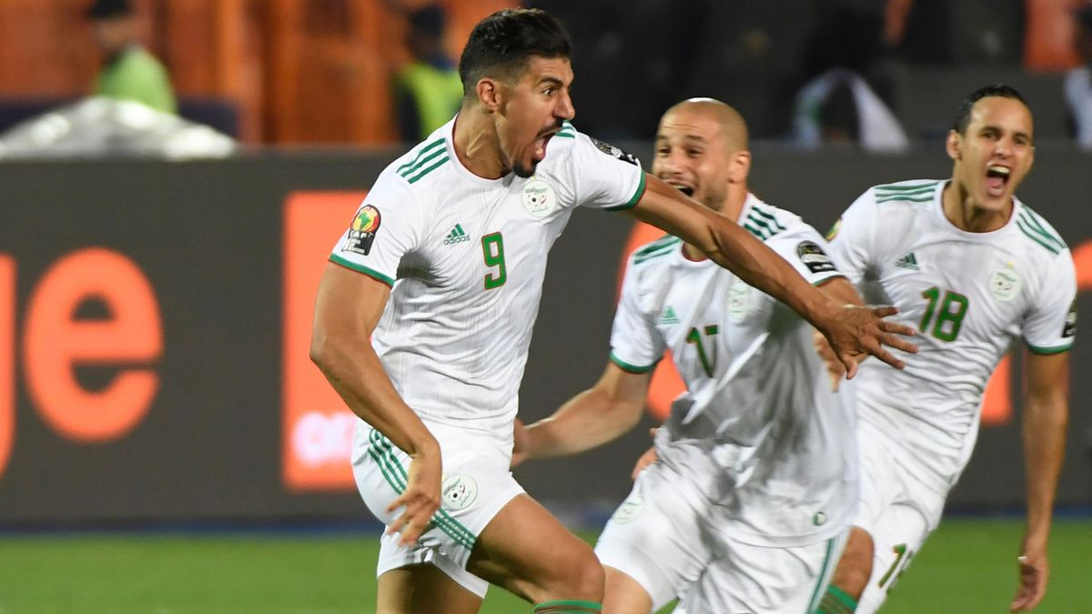 Algeria's forward Baghdad Bounedjah (L) celebrates his goal during the 2019 Africa Cup of Nations (CAN) Final football match between Senegal and Algeria