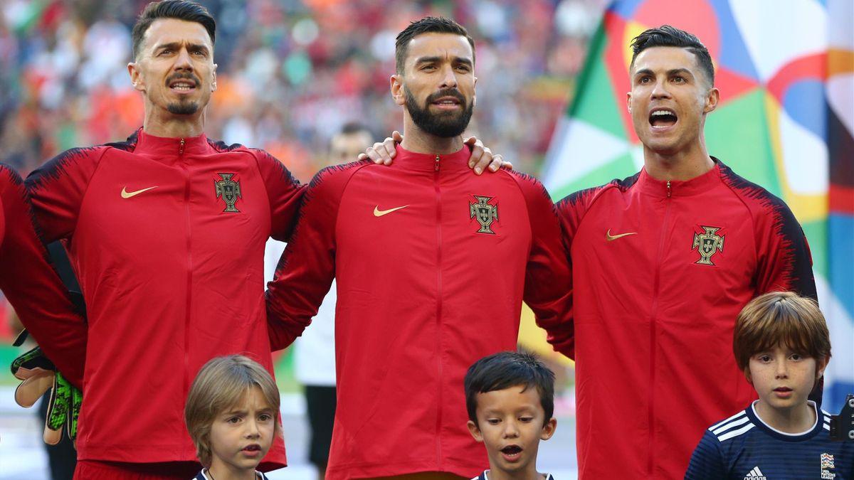 Jose Fonte, Rui Patricio, and Cristiano Ronaldo of Portugal