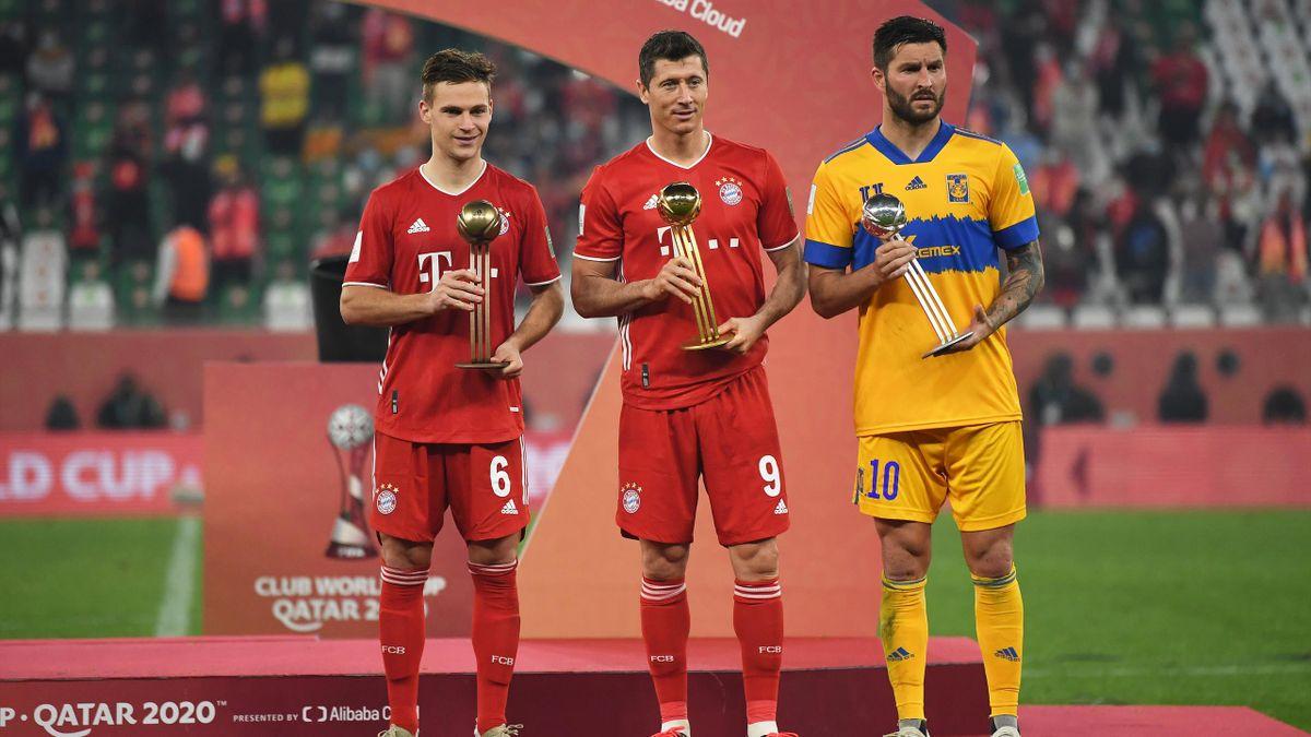 Joshua Kimmich, Robert Lewandowski (beide FC Bayern) und André-Pierre Gignac (von links; Tigres UANL)