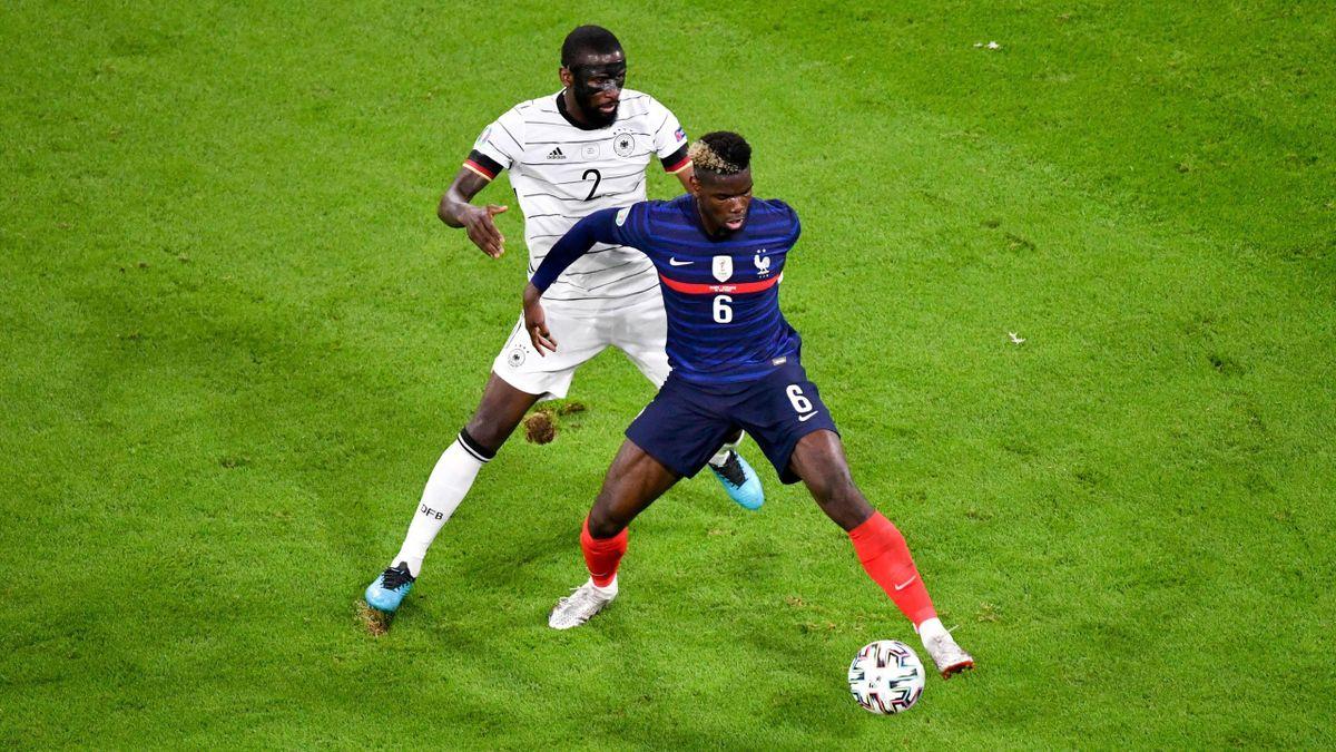 Antonio Rüdiger (Allemagne) et Paul Pogba (France) lors de l'Euro 2020 - 15/06/2021