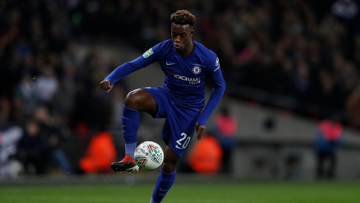 Chelsea's English midfielder Callum Hudson-Odoi controls the ball during the English League Cup semi-final first-leg football match between Tottenham Hotspur and Chelsea at Wembley Stadium in London, on January 8, 2019.