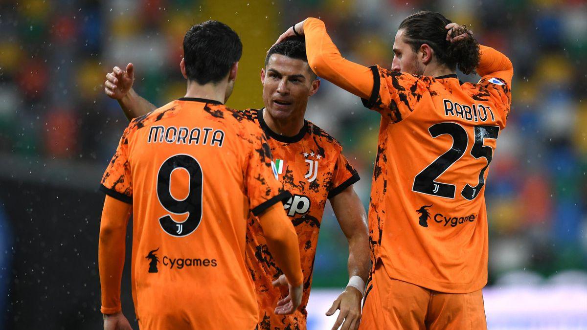 Ronaldo festeggia il 2-1 della Juventus sull'Udinese