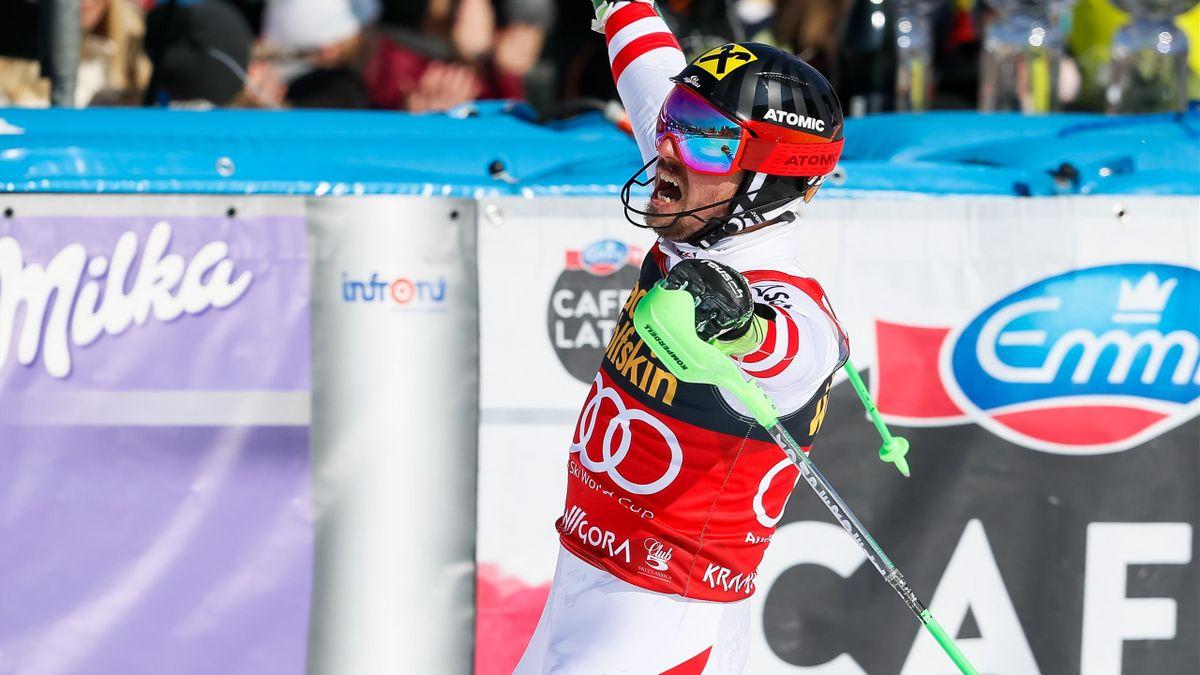 Marcel Hirscher après son succès en slalom à Kranjska Gora