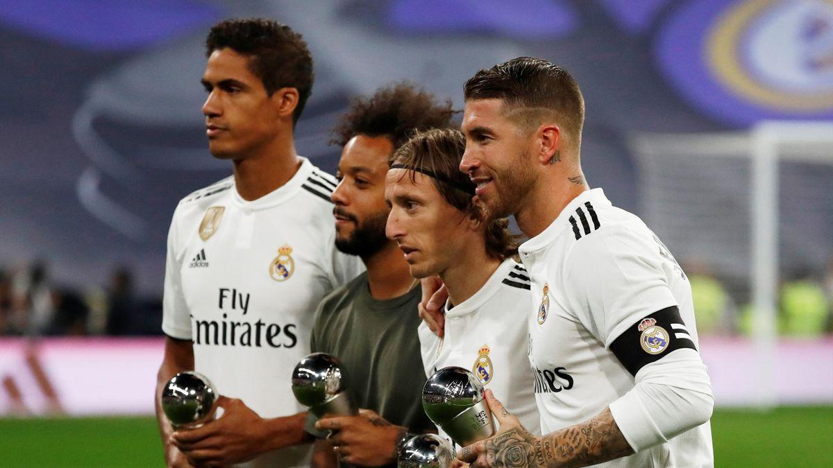 Real Madrid's Sergio Ramos, Luka Modric, Marcelo and Raphael Varane