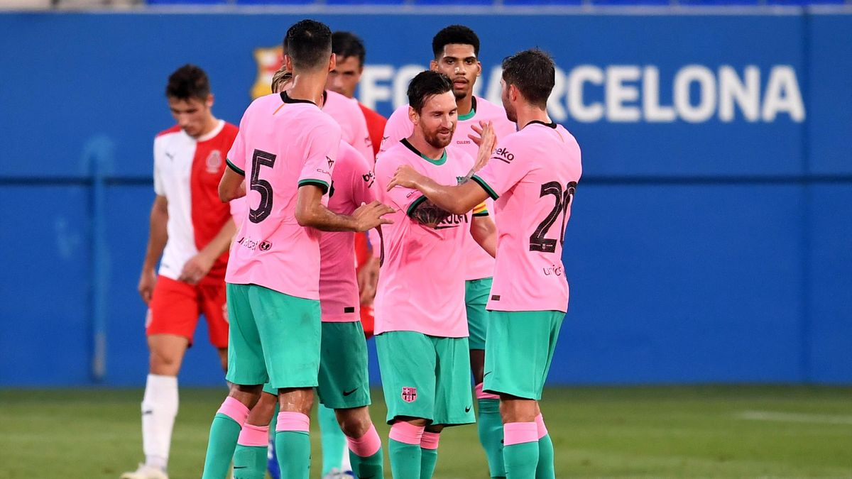 Watch Lionel Messi Score Wonderful Goal In New Barcelona Pink Third Kit Against Girona Eurosport
