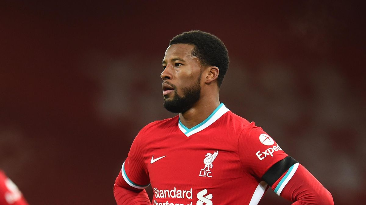 Georginio Wijnaldum of Liverpool during the Premier League match between Liverpool and Chelsea at Anfield on March 04, 2021 in Liverpool, England.