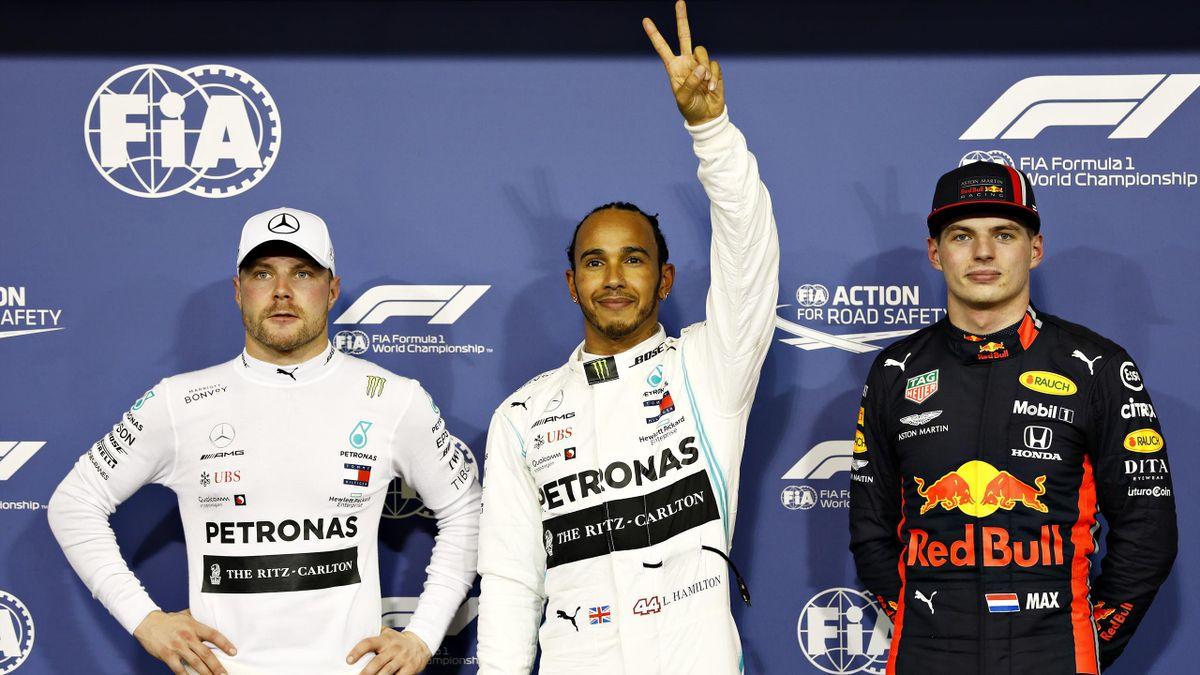 Valtteri Bottas, Lewis Hamilton (Mercedes), Max Verstappen (Red Bull) au Grand Prix d'Abou Dabi 2019