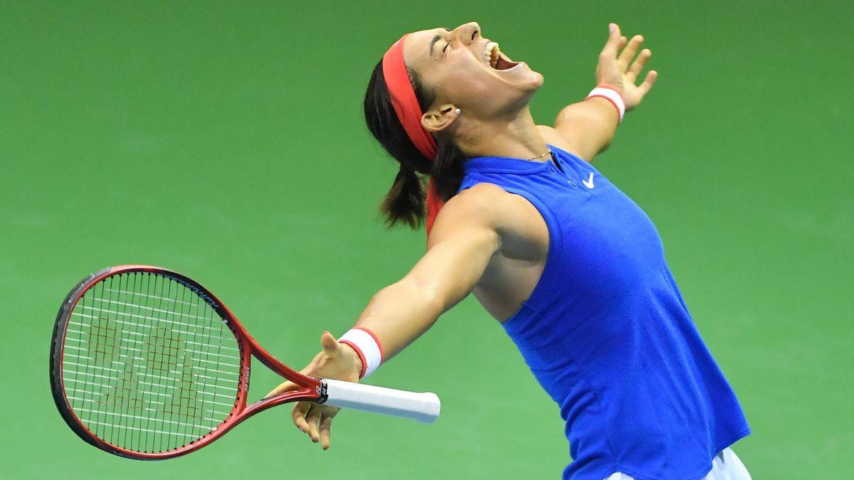 Caroline Garcia célèbre sa deuxième victoire contre la Belgique en Fed Cup, en février 2019.