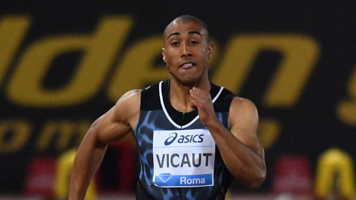 Jimmy Vicaut lors du 100 m du meeting de Rome, le 2 juin 2016