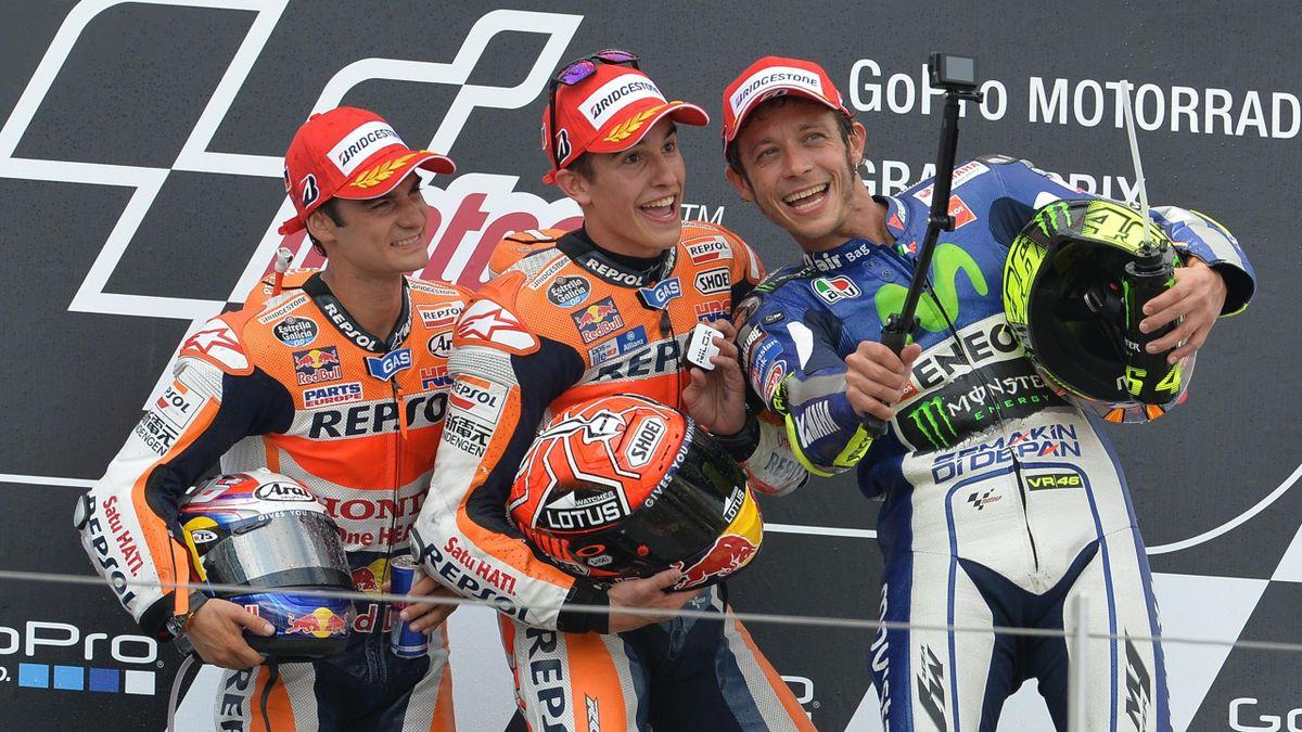 Dani Pedrosa, Marc Marquez (Honda HRC), Valentino Rossi (Yamaha Factory) au Grand Prix d'Allemagne