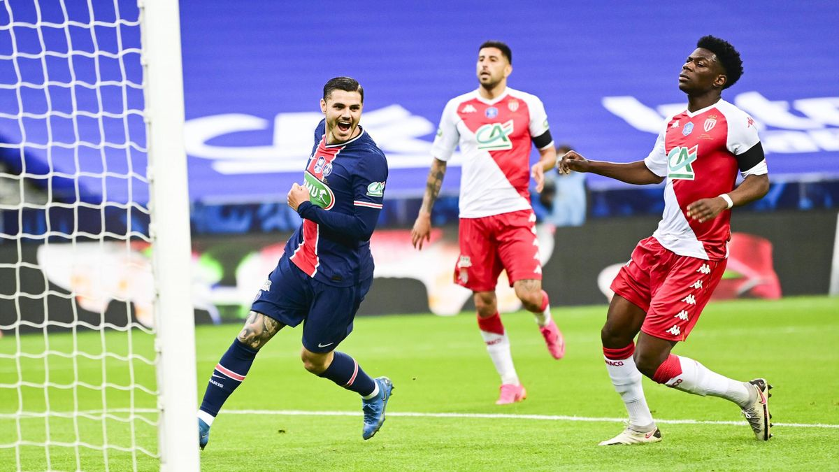 Mauro Icardi (l.) trifft für PSG im Pokalfinale gegen AS Monaco
