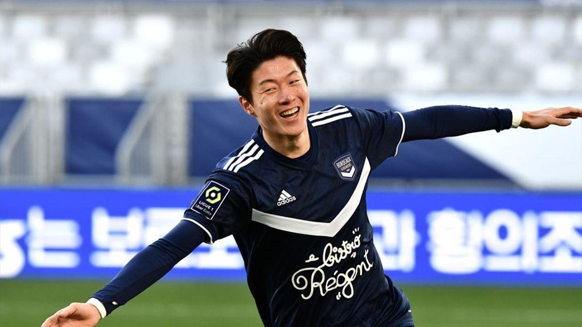 Hwang Ui-Jo fête son but lors de Bordeaux - Anger en Ligue 1 le 24 janvier 2021