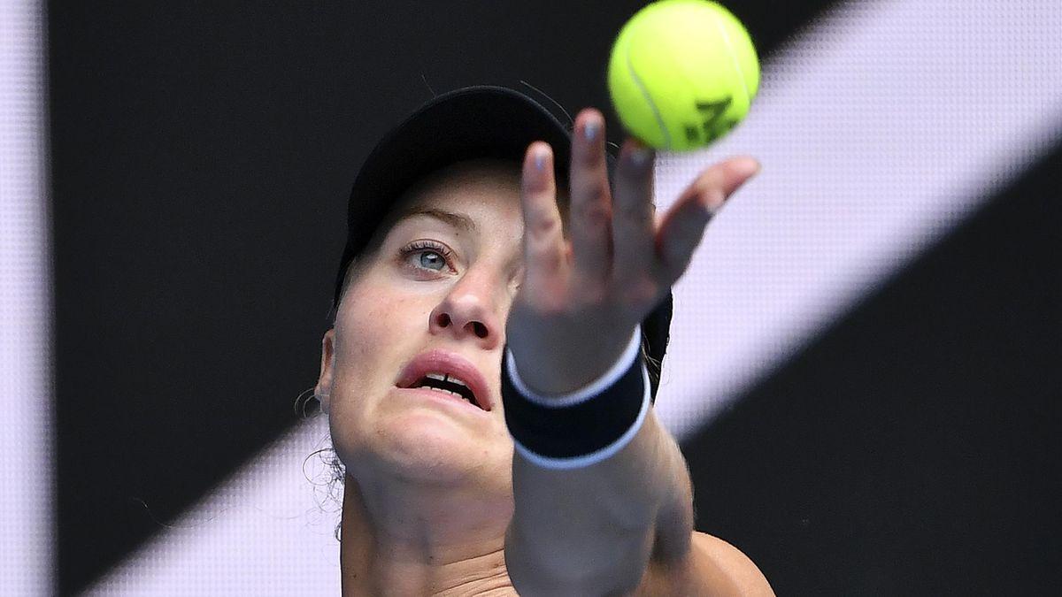 Kristina Mladenovic lors de l'Open d'Australie en 2021