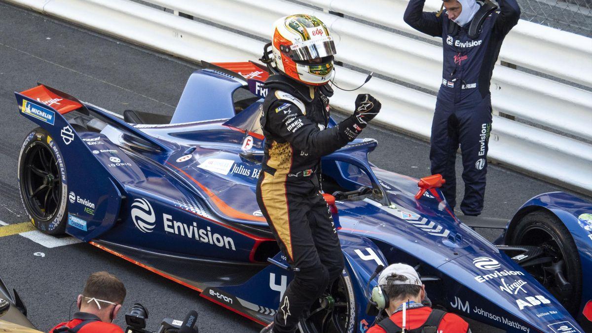 Antonio Felix da Costa reacts after winning the ABB FIA Formula E Monaco E-Prix on May 08, 2021 in Monaco