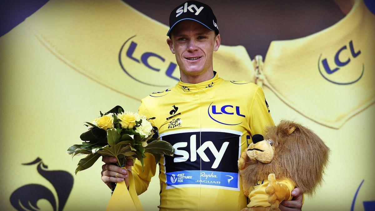 Chris Froome en jaune sur le Tour 2015.
