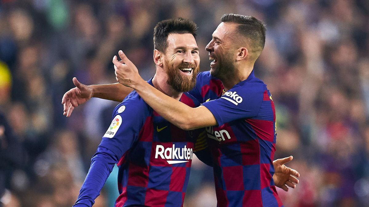 Lionel Messi and Jordi Alba of FC Barcelona celebrating their team's third goal during the Liga match between FC Barcelona and Real Valladolid CF at Camp Nou on October 29, 2019