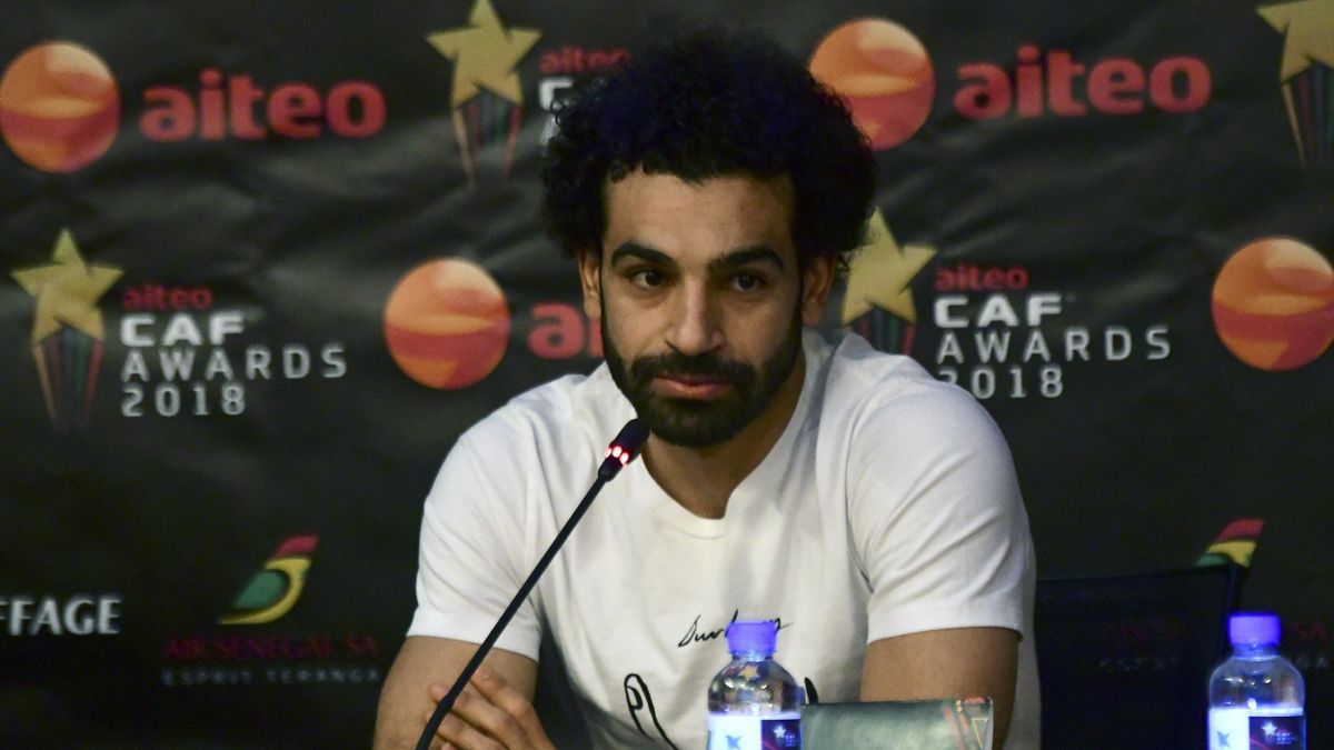 Eypgtian footballer Mohamed Salah, who is a nominee for CAF Best Player Award 2018, addresses a press conference in Dakar on January 8, 2019, ahead of the ceremony