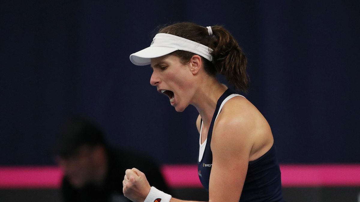 Fed Cup - Europe/Africa Group I - Pool A - Great Britain v Hungary - University of Bath, Bath, Britain - February 8, 2019 Great Britain's Johanna Konta celebrates during her match against Hungary's Anna Bondar