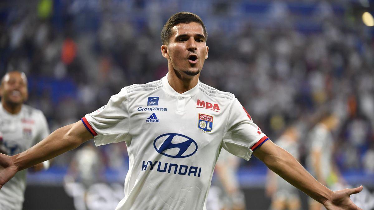 Houssem Aouar lors de Lyon-Angers / Ligue 1