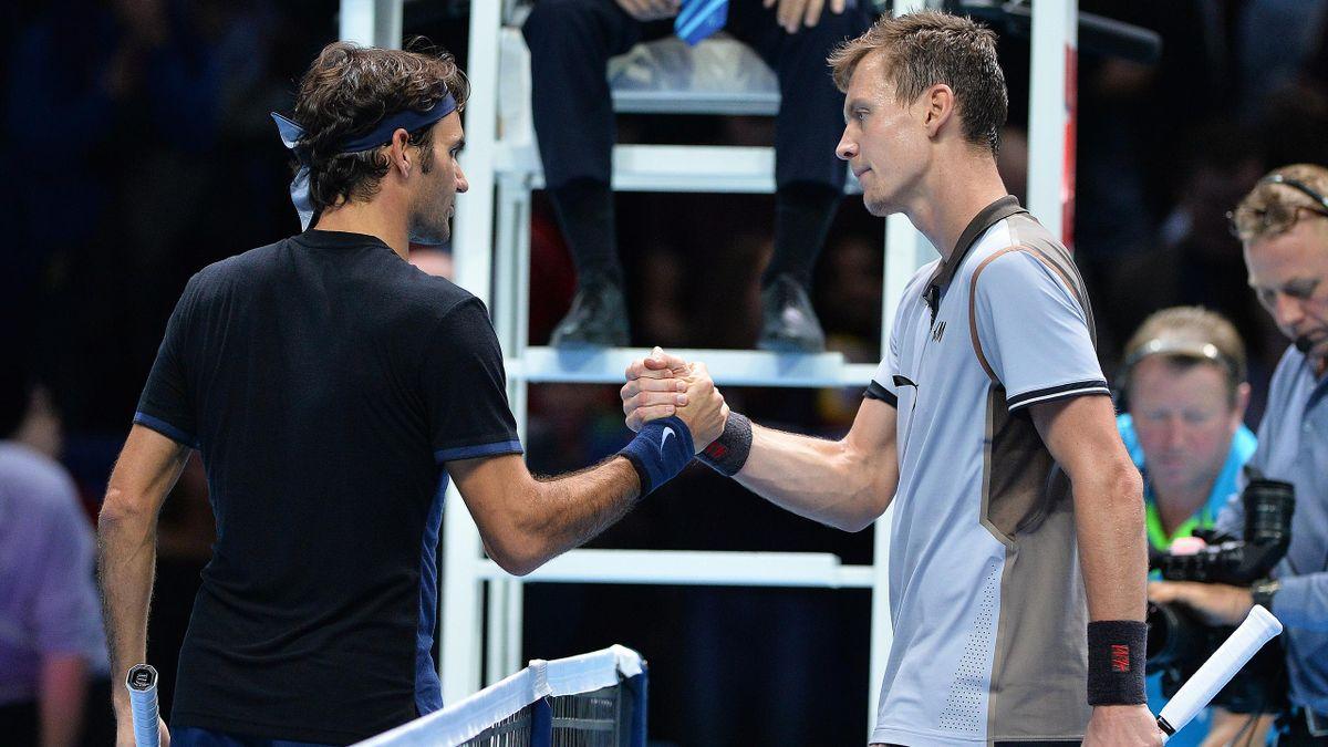 Roger Federer et Tomas Berdych, lors du Masters 2015, à Londres.