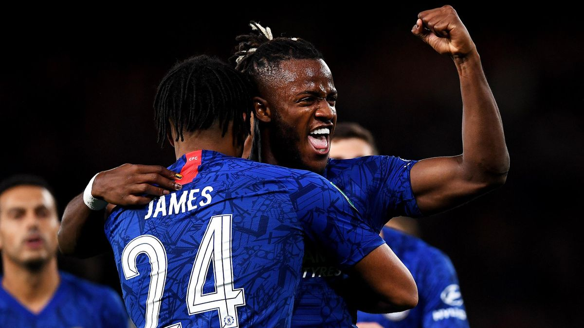 Michy Batshuayi of Chelsea celebrates after he scores his sides second goal during the Carabao Cup Third Round match between Chelsea FC and Grimsby Town at Stamford Bridge