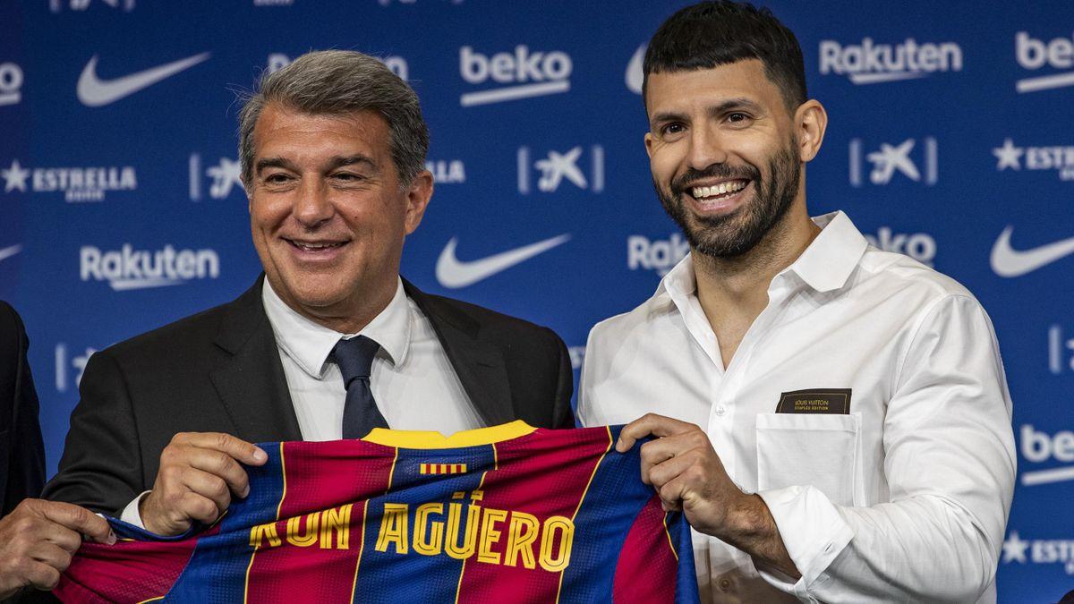 Joan Laporta, Sergio Kun Agüero (FC Barcelona)