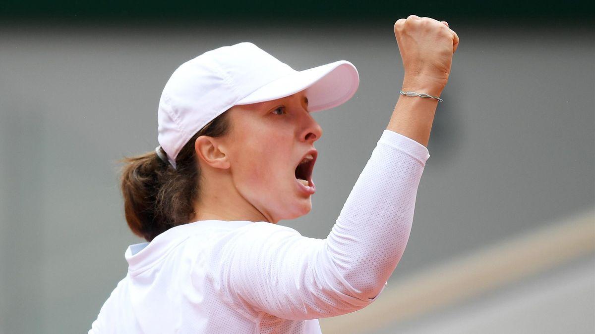Iga Swiatek lors de sa demi-finale à Roland-Garros 2020