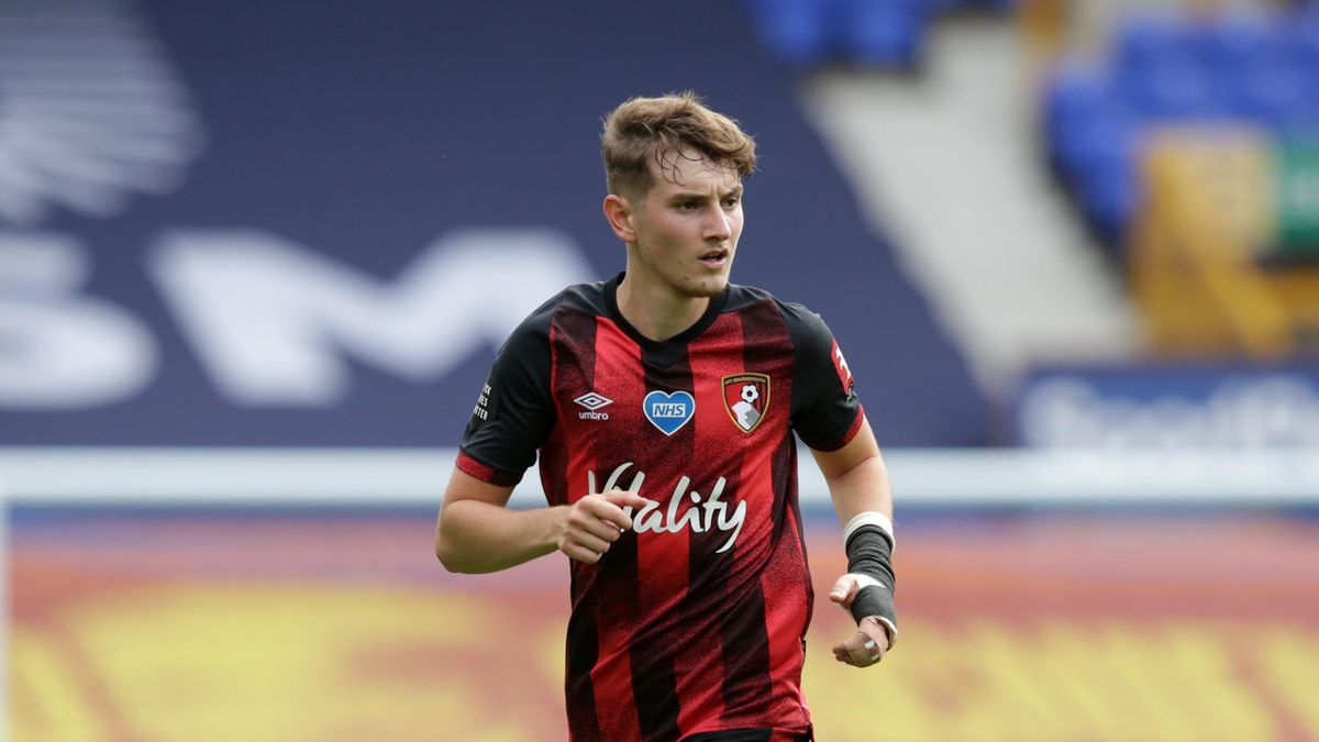 David Brooks of Bournemouth during the Premier League match between Everton FC and AFC Bournemouth at Goodison Park on July 26, 2020 in Liverpool, England.