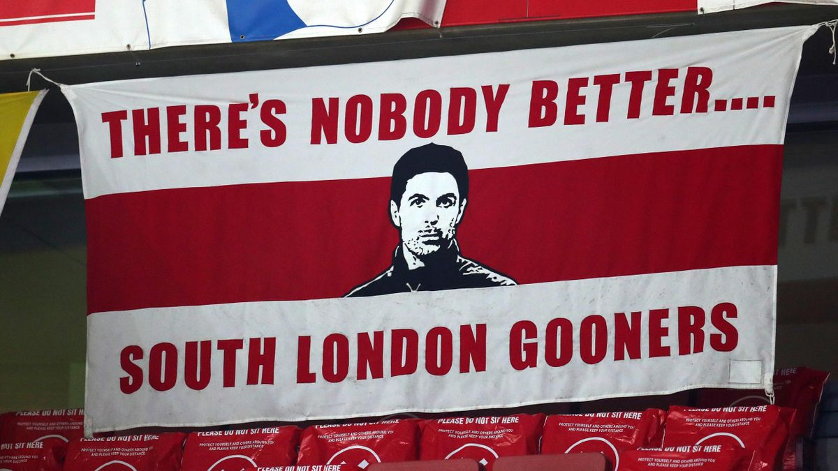 A banner with an image of Mikel Arteta