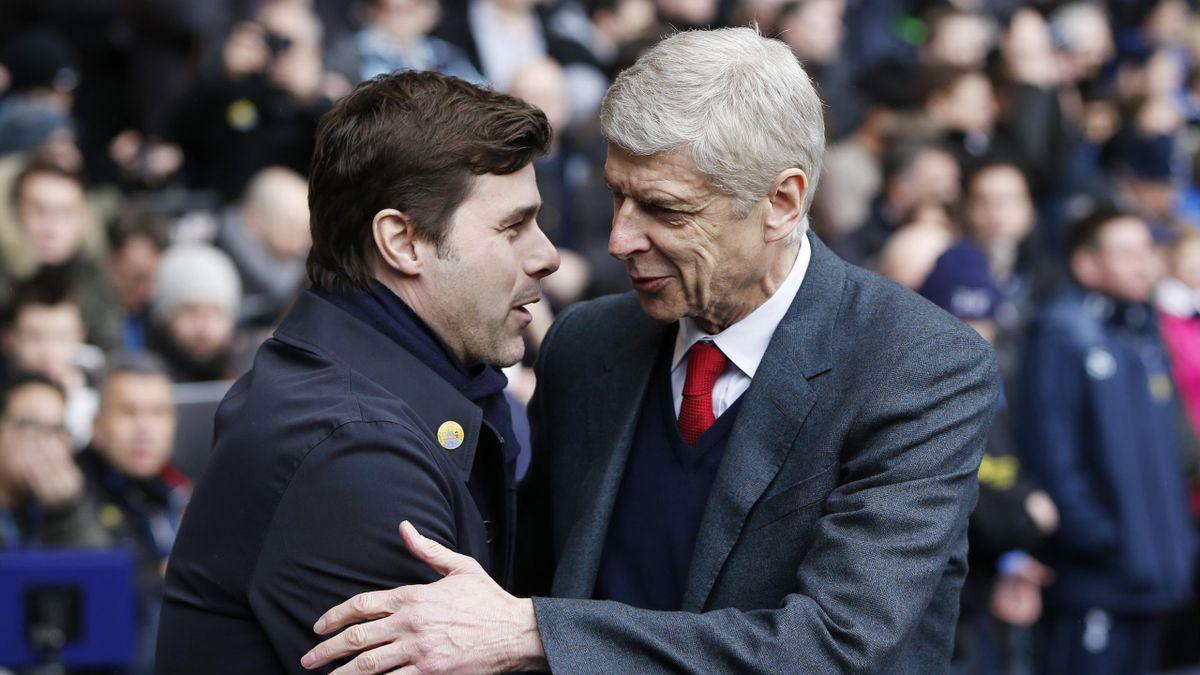 Arsenal manager Arsene Wenger and Tottenham manager Mauricio Pochettino shake hands before the game