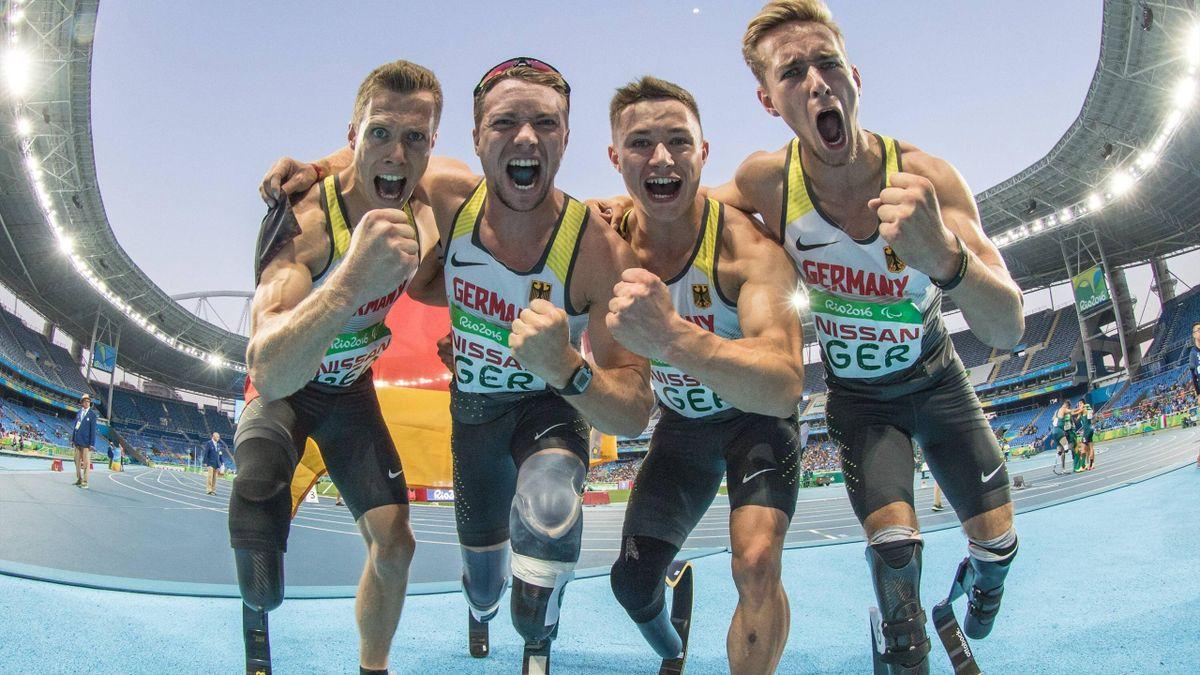 Die deutsche 400-Meter-Staffel holt bei den Paralympics in Rio de Janeiro Gold