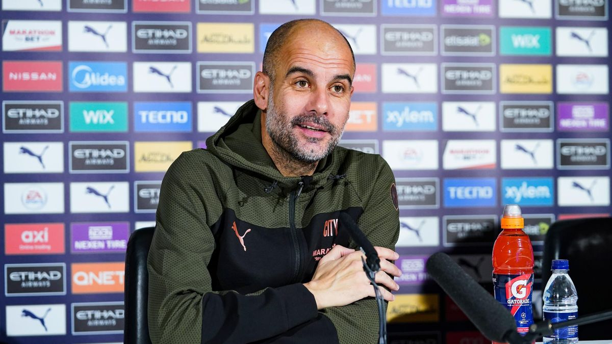 Pep Guardiola, manager of Manchester City speaks to the media during a press conference at Manchester City Football Academy