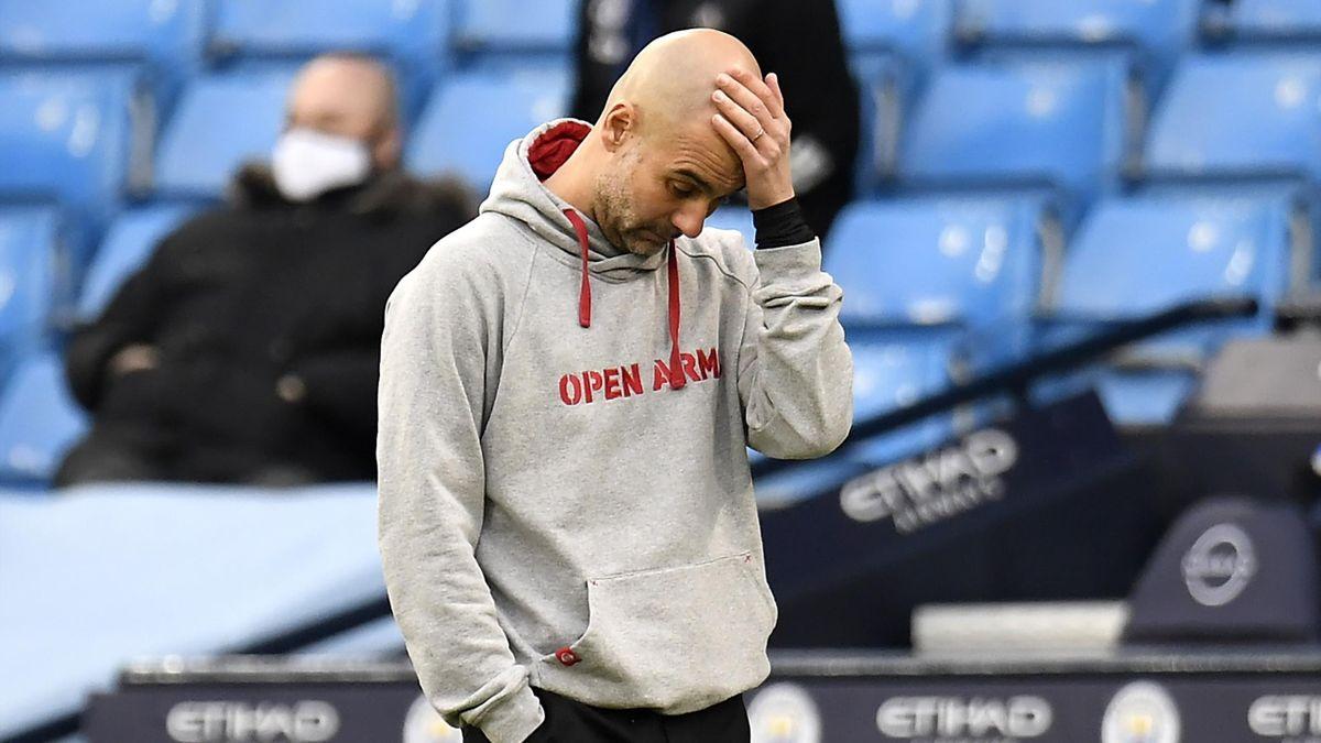 ManCity-Trainer Pep Guardiola reagierte verzweifelt an der Seitenlinie im Stadtderby gegen Manchester United