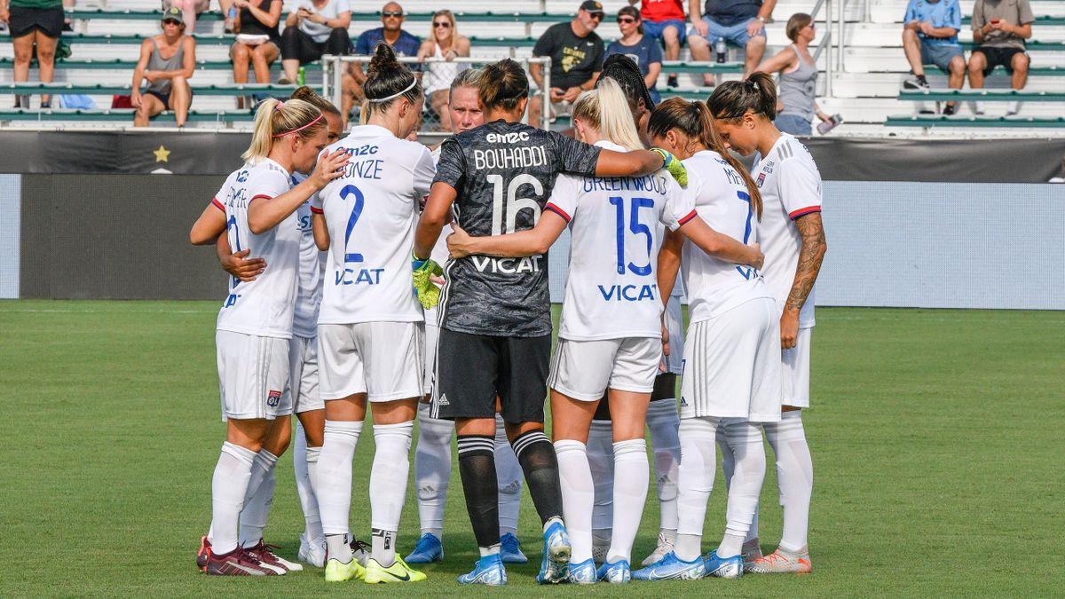 L'Olympique Lyonnais (féminines) lors d'un match de l'ICC face à l'Atlético de Madrid, le 15 août 2019