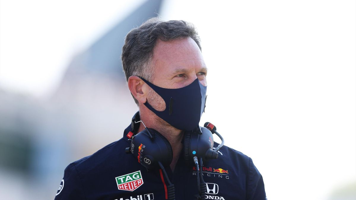 NORTHAMPTON, ENGLAND - JULY 18: Red Bull Racing Team Principal Christian Horner looks on from the grid before the F1 Grand Prix of Great Britain at Silverstone on July 18, 2021 in Northampton, England. (Photo by Lars Baron/Getty Images)