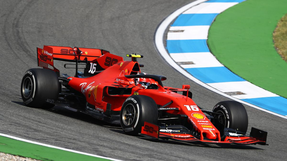 Charles Leclerc of Monaco driving the (16) Scuderia Ferrari SF90 on track during practice for the F1 Grand Prix of Germany at Hockenheimring on July 26, 2019 in Hockenheim, Germany.