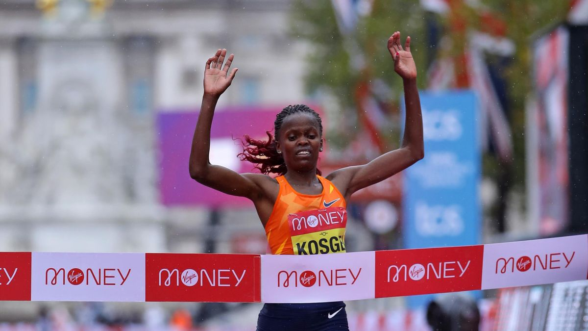 Brigid Kosgei wins the 2020 London Marathon