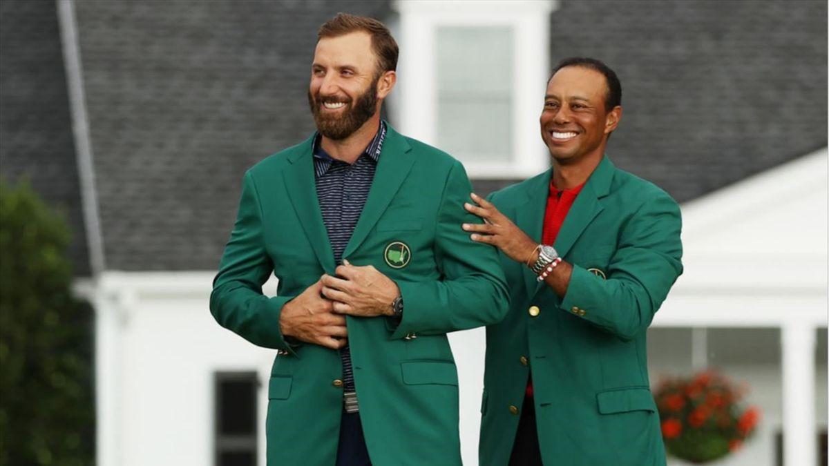 Dustin Johnson og Tiger Woods