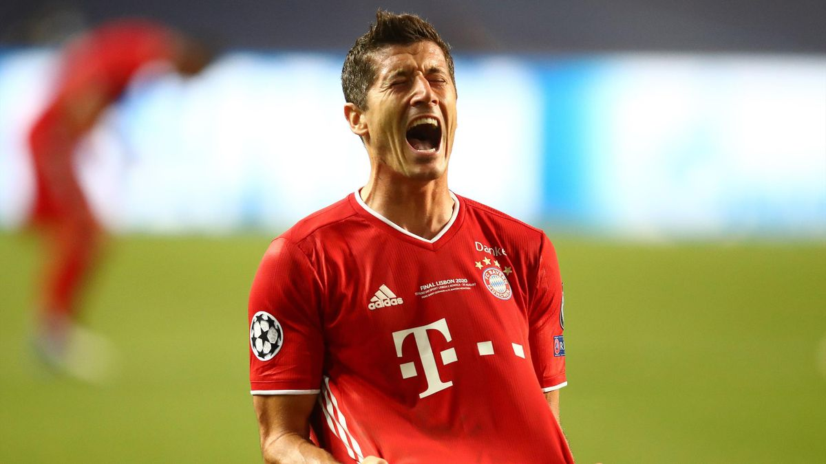 Robert Lewandowski of Bayern Munich celebrates at the end of the UEFA Champions League final football match between Paris Saint-Germain and Bayern Munich at the Luz stadium in Lisbon, Portugal on August 23, 2020
