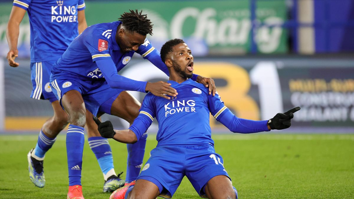 Kelechi Iheanacho of Leicester City celebrates after scoring to make it 3-1 during the Emirates FA Cup Quarter Final match between Leicester City and Manchester United at The King Power Stadium