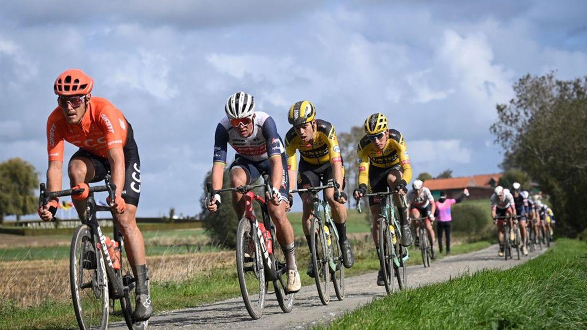Matteo Trentin of CCC Team, Danish Mads Pedersen of Trek-Segafredo and Belgian Wout Van Aert of Team Jumbo-Visma pictured in action during the Gent-Wevelgem - In Flanders Fields one day cycling race, 232,5 km, Sunday 11 October 2020, in Ieper.