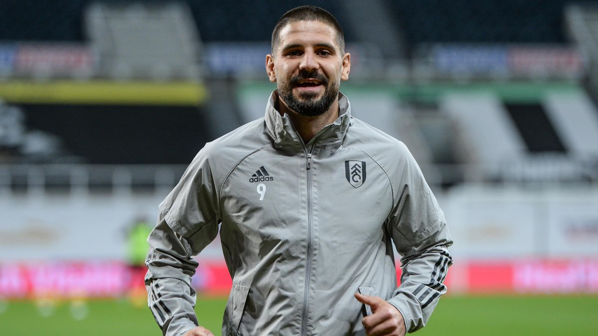 Aleksandar Mitrovic of Fulham FC (9) smiles during the Premier League match between Newcastle United and Fulham at St. James Park on December 19, 2020 in Newcastle upon Tyne